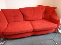 Red Sofa and matching armchair