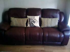 Brown leather reclining 2+3 seater leather Sofa's.