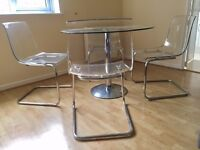 Set of 4 acrylic and metal chairs