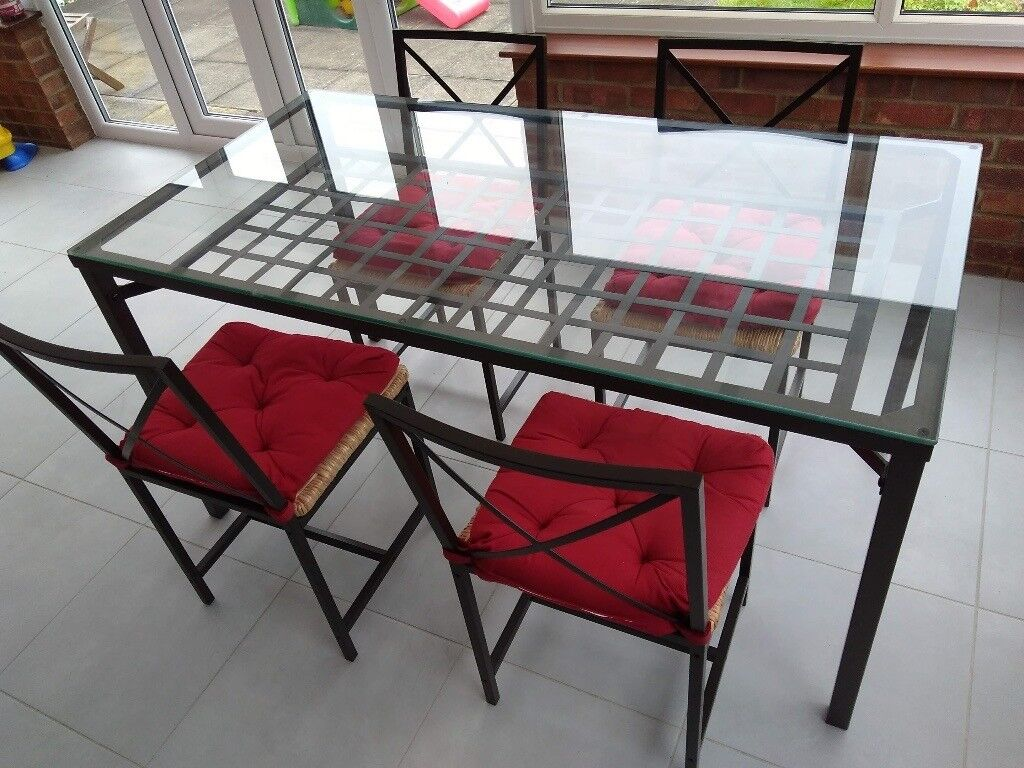 Awe Inspiring Ikea Granas Dining Garden Glass And Iron Table With 4 Chairs In Bedford Bedfordshire Gumtree Beutiful Home Inspiration Aditmahrainfo