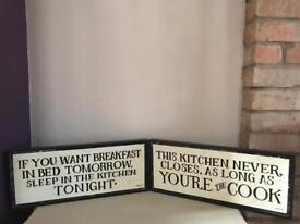 2x Kitchen Signs