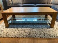 Oak table with glass shelf