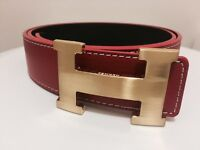 Red Hermes Belt with Gold Buckle