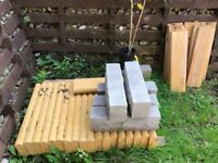 Edging and rock-faced blocks