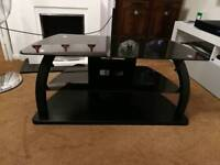 Black TV stand with Black Glass top
