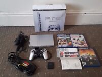 Sony PlayStation 2 Slim Satin Silver Console + 3 Games Bundle