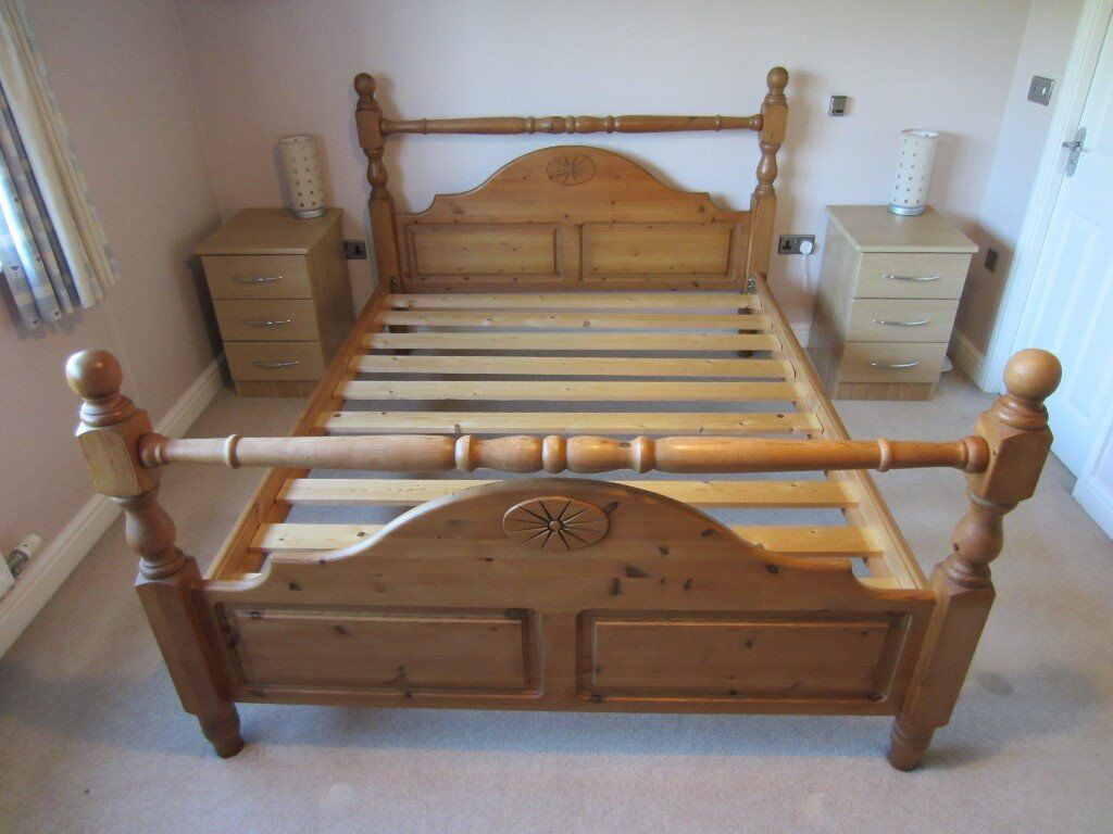 new product baa37 2e41e Solid Pine King Size Bed Frame in antique stain finish - very solid. | in  Loughborough, Leicestershire | Gumtree