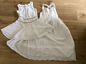 2 x girls white summer dresses. Aged 8-9 years