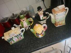 Collection off teapots