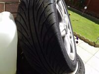 4 alloy wheels off a rover 75 , lots of tread still on the tyres , for sale at £100