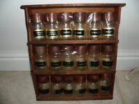 WOODEN SPICE RACK TO HOLD 18 JAR'S