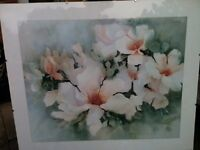 "Ann Hunt ""Petal Soft""print in picture in simple glass frame"