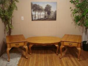 Oak 3 Piece Coffee Table Set