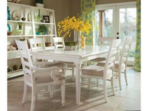 Klaussner Sea Breeze Rectangular Dining Table, White, 424-084 (TABLE ONLY) NEW * 5 CORNERS FURNITURE**