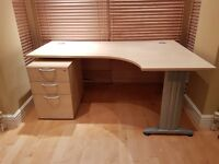 Good Quality Office Desk and Drawer Unit with cable management system - Collection only