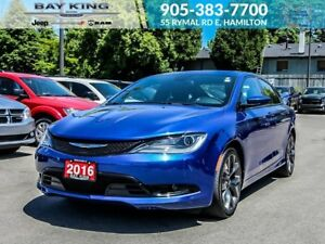 "2016 Chrysler 200 S, SUNROOF, BACKUP CAM, UPGRADED SOUND, 19"" BL"