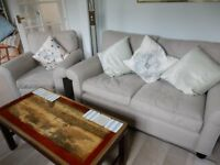 Laura Ashley sofa and armchair in beige fabric, newly cleaned, 4 years old
