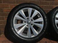 "16"" Genuine VW Toronto Alloy Wheels Golf Caddy 5x112 205/55 R16 TYRES Alloys 5x112 Seat Audi Skoda"