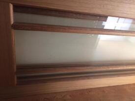 Solid oak glass panelled door 78 x 33 inches