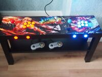 2 PLAYER ARCADE TABLE WITH ARTWORK AND 1000's OF MAME, NES, SNES MEGADRIVE AND MASTERSYSTEM GAMES