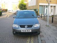 56 REG 2006 VW TOURAN SPORT 2.0 TDI DSG AUTOMATIC, 2 OWNER, 12 MOT, 82K F/S/H, 7 SEATER CAR, HPI
