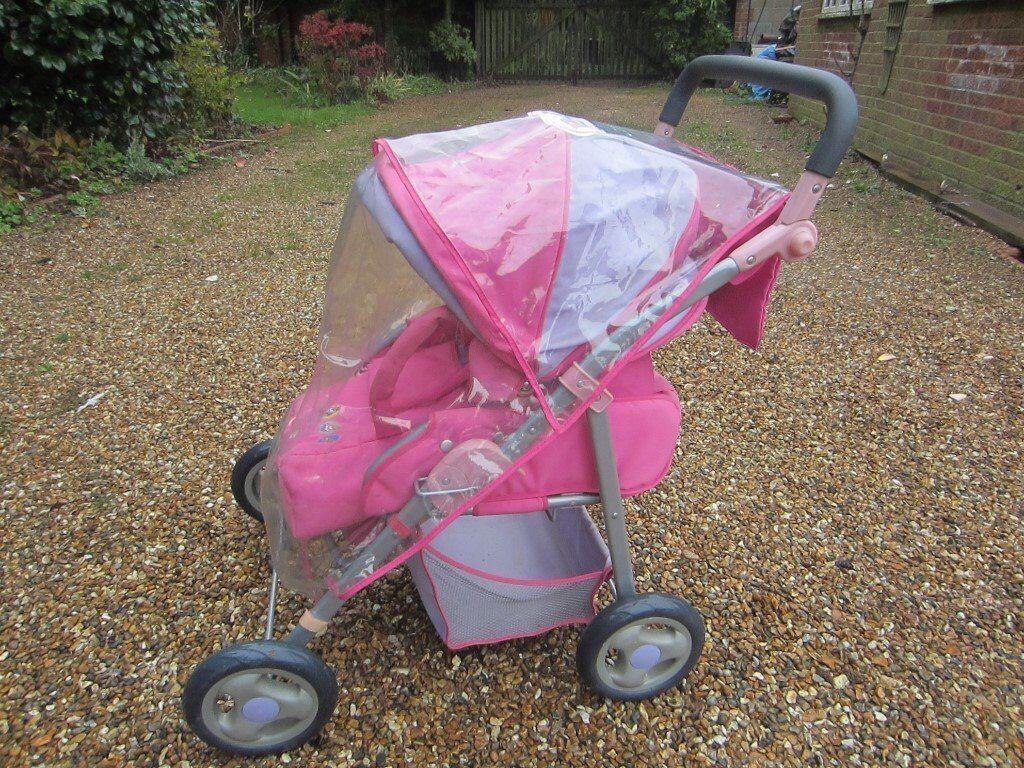 Kid's Baby Born deluxe pram, pink, hood, shopping basket