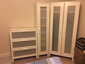 White ikea wardrobe, chest of drawers, shelf