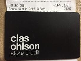 Gift card to Clas Ohlson worth £34.99