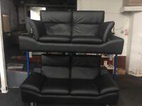 New/Ex Display Prestwood Black Leather 2 + 2 Seater Sofas