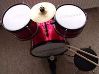 PLAYON Junior Drum Kit Set,Pedal, stool,cymbal, 3 drums, drum sticks, instruction.