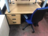 1500mm x 800mm Straight Office Desk with Integrated Draw Pack