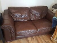 Brown leather sofas 3&2 seater & poffee