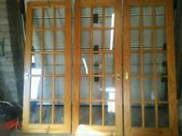3 X hemlock glass panel doors in VGC,