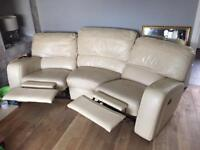 3 Piece Leather Sofa inc Electric Chair + Curved Settee