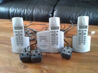 set of 3 wharfdale cordless house phones with answering machine