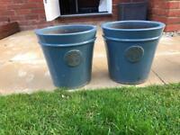 Blue heritage garden medium ceramic pot