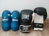 Boxing gloves and Shin Guards