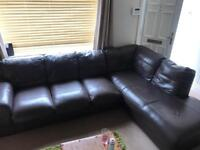Brown leather corner sofa with matching footstoll