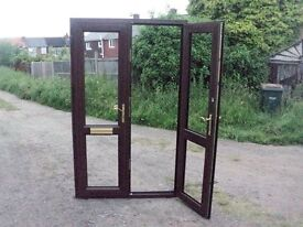 brown wood grain set french door open out 1250mm x 2060mm £130 coventry clear safety glass