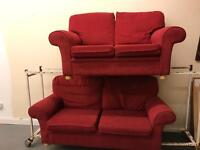 3&2 seater red fabric sofas
