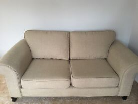 DFS beige sofa - 2 seater, 2 x arm chairs 1x storage poufee