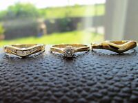 18ct Yellow Gold Diamond Engagement Ring Solitaire Eternity Wedding Set
