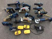 Selection of Ryobi hand tools 18 v ; x2 Circular saws, x1 Jigsaw, x1 Radio, x1 Hoover