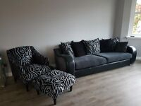 Stunning 4 seat sofa, chair & footstool