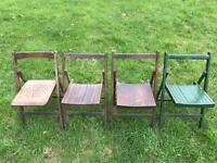 Antique folding wooden chairs