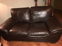 brown leather 3 + 2 + pouffe sofa