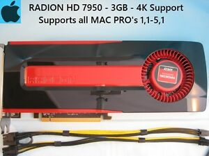 Sapphire Radeon HD 7950 3GB Apple MAC PRO Upgrade 1,1-5,1 with Power Cables, 4K