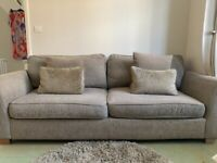 Taupe 4 seater sofa and cuddle chair
