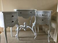 Dressing table and 2 beside tables with drawers