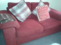DFS Red Cord Sofas (Pair) 2 seaters